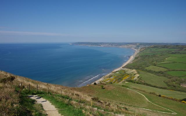 View over Lyme Bay from Golden Cap, Dorset