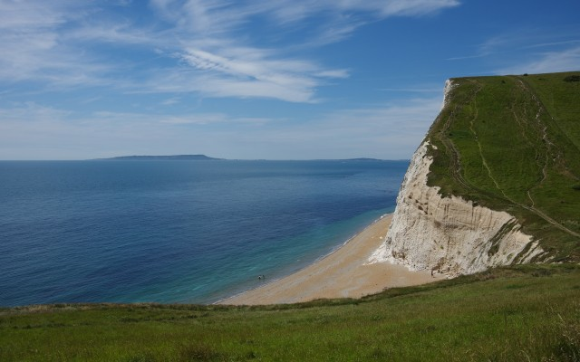View from Scratchy Bottom to Isle of Portland, Dorset